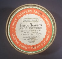 Antique 1920s Art Nouveau Three Flowers Face Powder Box Cardboard Container - Treasure Valley Antiques & Collectibles