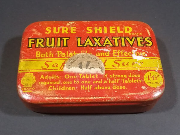 1930s Sure Shield Fruit Laxatives Pastilles Tin - Treasure Valley Antiques & Collectibles
