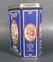 1987 Tetley Tea 150th Year Anniversary Blue & Gold Metal Tin Container - Treasure Valley Antiques & Collectibles