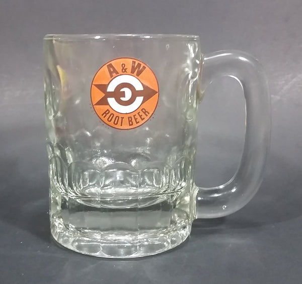 "1961-1968 A & W Allen & Wright Soda Pop Beverage 4 1/4"" Clear Glass Root Beer Mug"