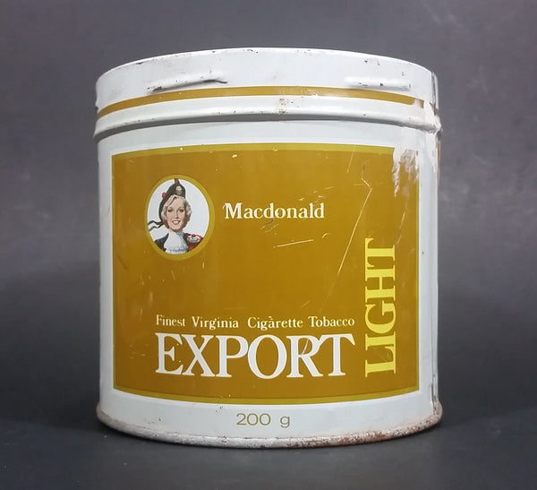 Vintage 1980s MacDonald Finest Virginia Cigarette Tobacco Export Light Tobacco Tin No Lid - Treasure Valley Antiques & Collectibles