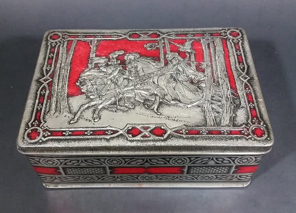 1950s Riley's Rum & Butter Toffee Medieval Hunting Scene Embossed Red Tin with Ingredient Sticker