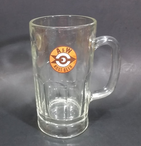 "1961-1968 A & W Allen & Wright Soda Pop Beverage 6"" Clear Glass Root Beer Mug"