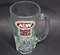 "1970s A & W Root Beer Logo 6 7/8"" Clear Glass Mug - Treasure Valley Antiques & Collectibles"