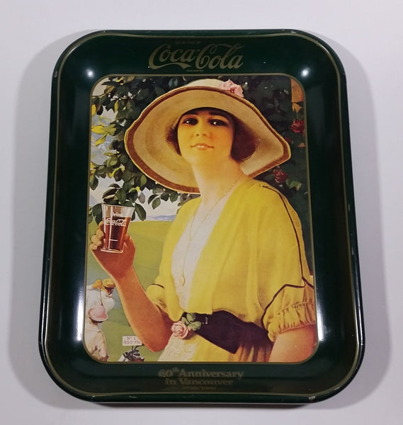 Vintage 1980 60th Anniversary of Coca-Cola in Vancouver 1920-1980 Yellow Dress Woman Official Tray - Treasure Valley Antiques & Collectibles
