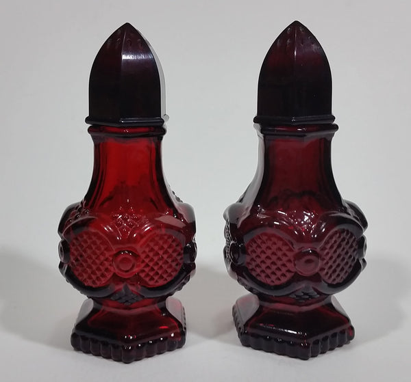 Vintage Avon Cape Cod Collection Ruby Red Salt & Pepper Shakers