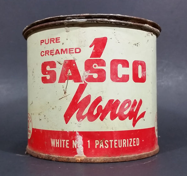 1940s Sasco Honey 2 Lb Tin Pail FULL UNOPENED - Saskatchewan Honey Company Tisdale, Saskatchewan - Treasure Valley Antiques & Collectibles