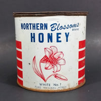 1950-60 Northern Blossoms Honey Hamilton Farms Aylsham Nipawin Saskatchewan Honey Tin Can - Treasure Valley Antiques & Collectibles