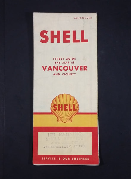 1956 Shell Street Guide and Map of Vancouver and Vicinity - Jim Menning Shell Service 41st & Dunbar