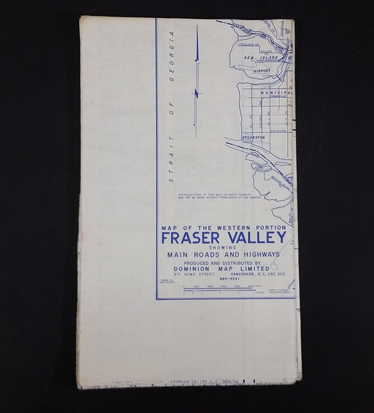 c. 1971 Fraser Valley Real Estate Board Map of The Western Portion Fraser Valley & Municipality of Langley - Treasure Valley Antiques & Collectibles