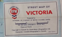 1966 Chevron Vancouver & Victoria Map - Celebrating British Columbia and Canada Centenaries 1966-1967 - Treasure Valley Antiques & Collectibles