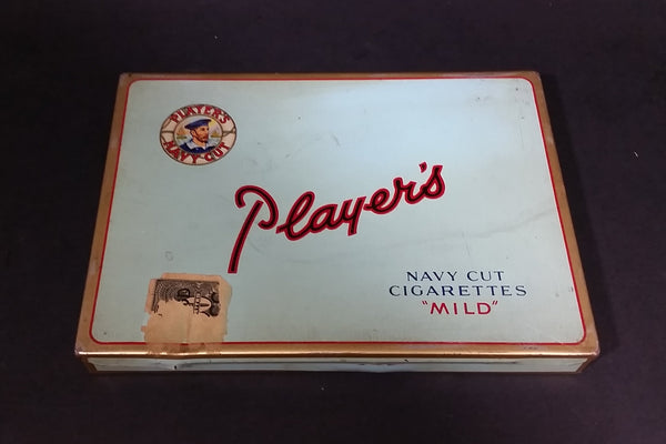 "Vintage 1950s Player's 50 Navy Cut Cigarettes ""MILD"" Tin Case w/ partial Excise Tax Stamp - Treasure Valley Antiques & Collectibles"