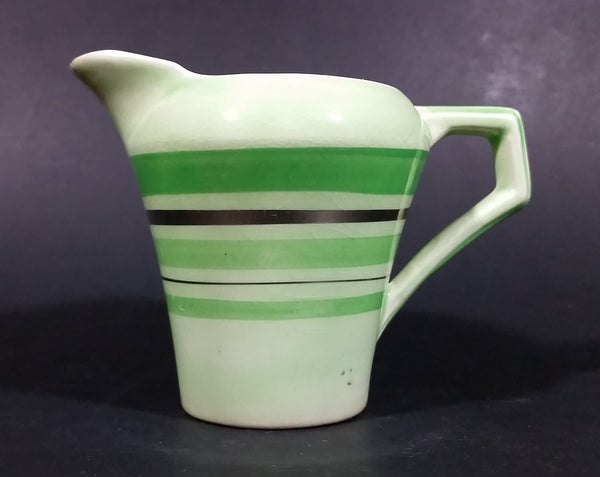Vintage Jaded Green Striped Creamer Made in England Silver Trimmed and Numbered - Treasure Valley Antiques & Collectibles