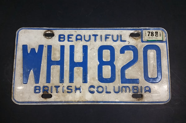 1978 Beautiful British Columbia White with Blue Letters Vehicle License Plate WHH 820 - Treasure Valley Antiques & Collectibles