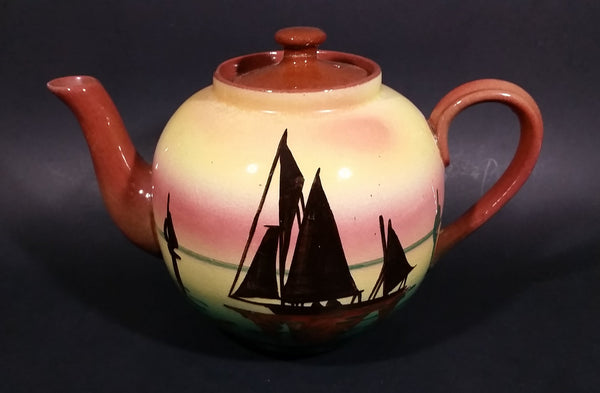 Very Rare 1940s Sailboat Torquay Mottoware Devon Teapot - Treasure Valley Antiques & Collectibles