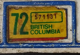 1972 Beautiful British Columbia White with Blue Letters Vehicle License Plate - Treasure Valley Antiques & Collectibles