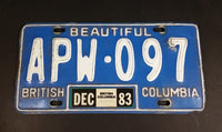 1983 Beautiful British Columbia Blue with White Letters Vehicle License Plate