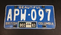 1983 Beautiful British Columbia Blue with White Letters Vehicle License Plate - Treasure Valley Antiques & Collectibles