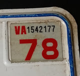 1978 Virginia White with Blue Letters Vehicle License Plate - Treasure Valley Antiques & Collectibles