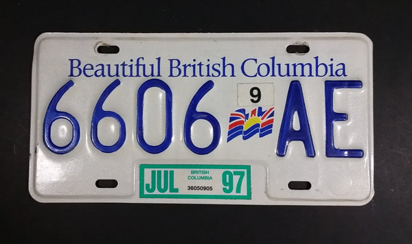 1997 Beautiful British Columbia White with Blue Letters Vehicle License Plate - Treasure Valley Antiques & Collectibles