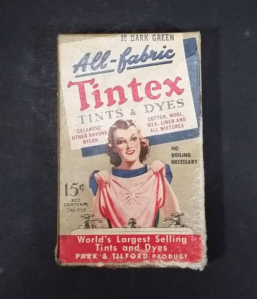 1940s All-Fabric Tintex Fabric Tints & Dyes 15¢ Box W/ Contents 36 Dark Green - Park & Tilford - Treasure Valley Antiques & Collectibles