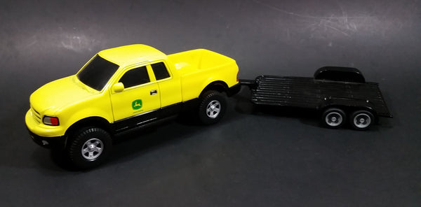 ERTL John Deere Yellow Pickup Truck with Black Flatbed Trailer Diecast Toy 1/25 Scale - Treasure Valley Antiques & Collectibles