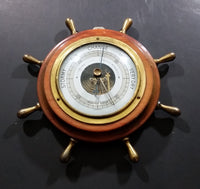 Vintage JG Gischard Aneroid Ships Wheel Barometer - Wood, Brass, Metal Face - Germany - Treasure Valley Antiques & Collectibles