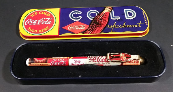 1996 Coca-Cola Coke Ice Cold Sold Here Cold Refreshment Collectible Pen in Tin Case