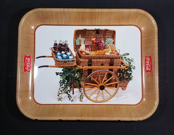 1958 Serve Coca-Cola Coke Soda Pop Picnic Basket Food Cart Wagon Beverage Serving Tray - Treasure Valley Antiques & Collectibles