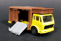1980s Majorette Made in France Mercedes Betaillere Yellow/Brown Animal Truck Die-cast Toy - Treasure Valley Antiques & Collectibles