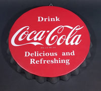 "Drink Coca-Cola Coke 14"" Bottle Cap Sign ""Delicious and Refreshing"" Reg. U.S. Pat. Off. - Treasure Valley Antiques & Collectibles"
