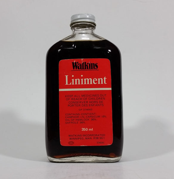 Vintage Watkins Liniment Bottle -Full - 350 mL - Treasure Valley Antiques & Collectibles