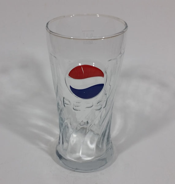 "2003-2004 Rare Pepsi Red & Blue Painted Raised Relief Swirl 6"" Glass Cup Made by Rastal of Germany - Treasure Valley Antiques & Collectibles"