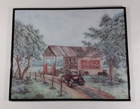 "Vintage Kay Lamb Shannon ""Martin's Garage"" Country Scene Coca-Cola 7UP Double Cola Framed Print - Treasure Valley Antiques & Collectibles"