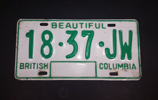 c. 1986 Beautiful British Columbia White with Green Letters Vehicle License Plate 18 37 JW - Treasure Valley Antiques & Collectibles