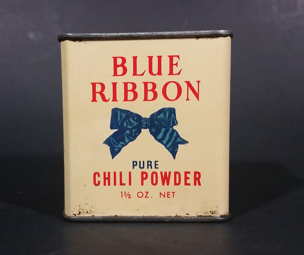 Vintage Blue Ribbon Limited Pure Chili Powder 1 1/2 oz Tin - has product - Vancouver Winnipeg Toronto - Treasure Valley Antiques & Collectibles