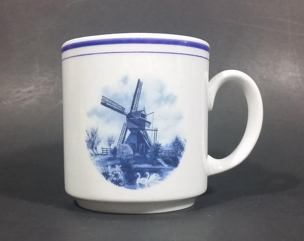 Vintage Eversberg West Germany Delft Blue Style Windmill Decor Blue Rim Coffee Mug - Treasure Valley Antiques & Collectibles