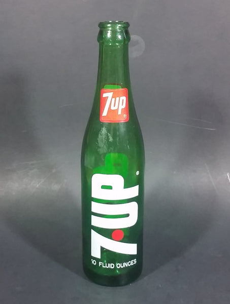 Vintage 1970s 7-UP Soda Beverage 10 Fluid Ounces Green Glass Bottle - Treasure Valley Antiques & Collectibles