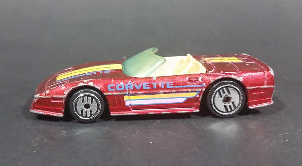 "1988 Hot Wheels Chevrolet Corvette Convertible ""Speed Fleet"" Diecast Toy Car - Maroon - Treasure Valley Antiques & Collectibles"