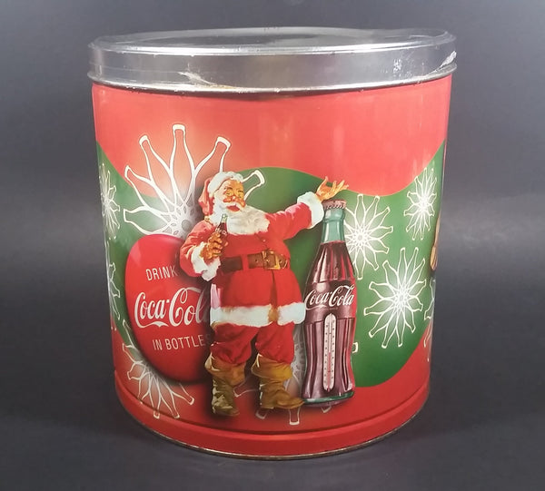 "2008 Coca-Cola Coke Soda Beverage Scenes of Santa Flavored Popcorn 9 1/4"" Tall Tin Canister - Treasure Valley Antiques & Collectibles"