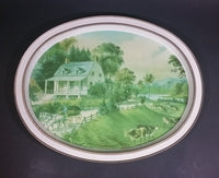 "Vintage Currier and Ives ""The American Homestead - Summer"" Print Oval Tray - Treasure Valley Antiques & Collectibles"