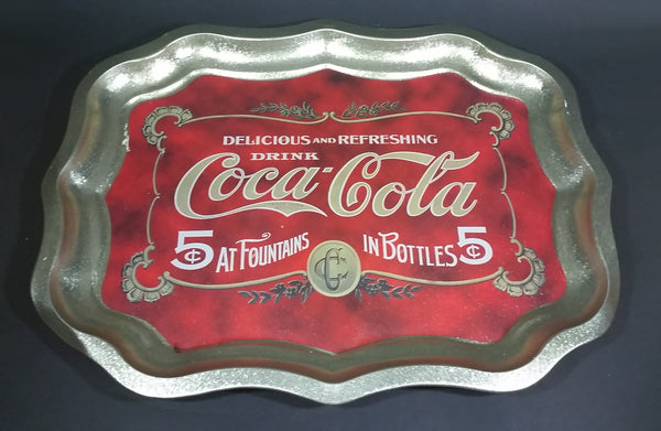 Modern Drink Coca-Cola 5¢ At Fountains In Bottle 5¢ Beverage Serving Tray - Treasure Valley Antiques & Collectibles