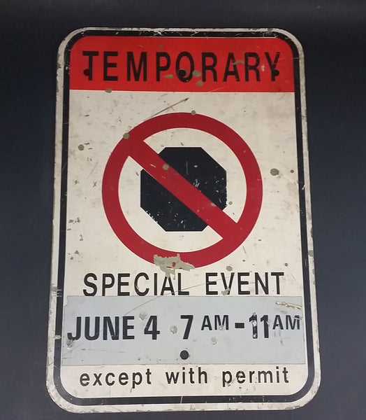Authentic Temporary No Stopping Special Event Except with Permit Metal Street Sign - Treasure Valley Antiques & Collectibles