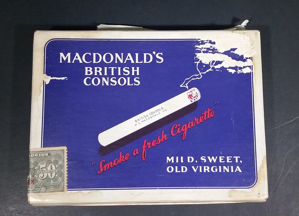 Rare 1942 Macdonald's British Consols Mild, Sweet, Old Virginia 50 Tobacco Cigarettes Package - Treasure Valley Antiques & Collectibles