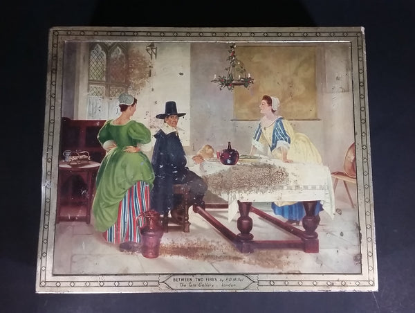 "Vintage ""Between Two Fires"" by F.D. Millet The Tate Gallery London English Biscuits Tin - Treasure Valley Antiques & Collectibles"