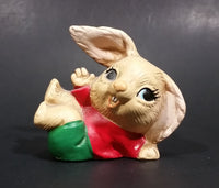 1970s Pepiware Bunny Laying on His Side Waving in Red Shirt Green Pants Figurine - England - Treasure Valley Antiques & Collectibles