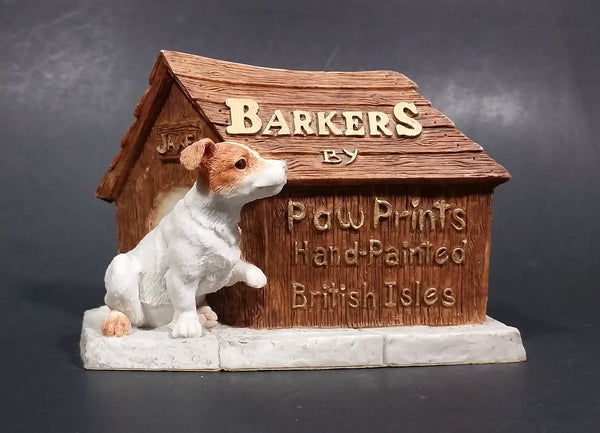 "Vintage Barkers Paw Prints Hand-Painted British Isles ""Jake"" Dogs w/ Doghouse Figurine - Treasure Valley Antiques & Collectibles"