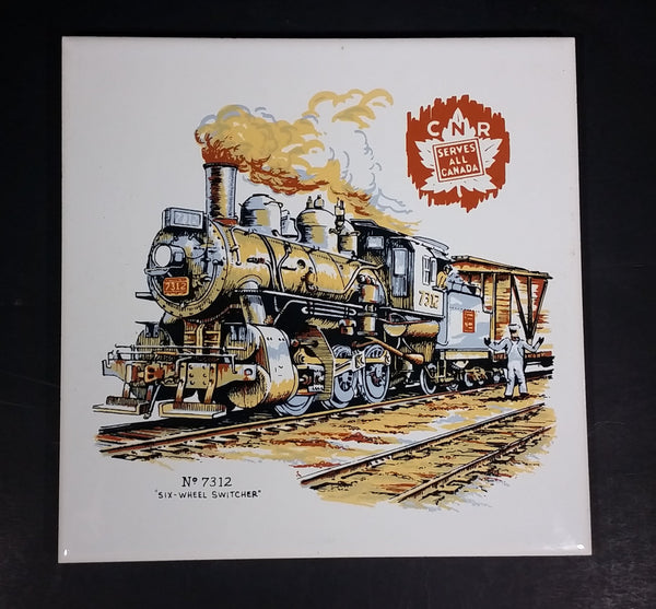 "Canadian National Railway CNR ""Serves All Canada"" No. 7312 ""Six-Wheel Switcher"" Ceramic Tile - Treasure Valley Antiques & Collectibles"