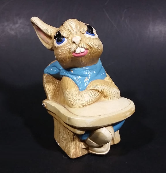 "1975 Pepiware ""Grumpy"" Bunny Rabbit Baby Sitting in High Chair - England - Treasure Valley Antiques & Collectibles"