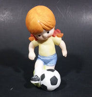 1982 Enesco Sports Little Girl Playing Football Soccer Decorative Collectible Figurine - Treasure Valley Antiques & Collectibles
